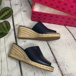 Tory Burch Bima leather wedge navy sandal 7.5